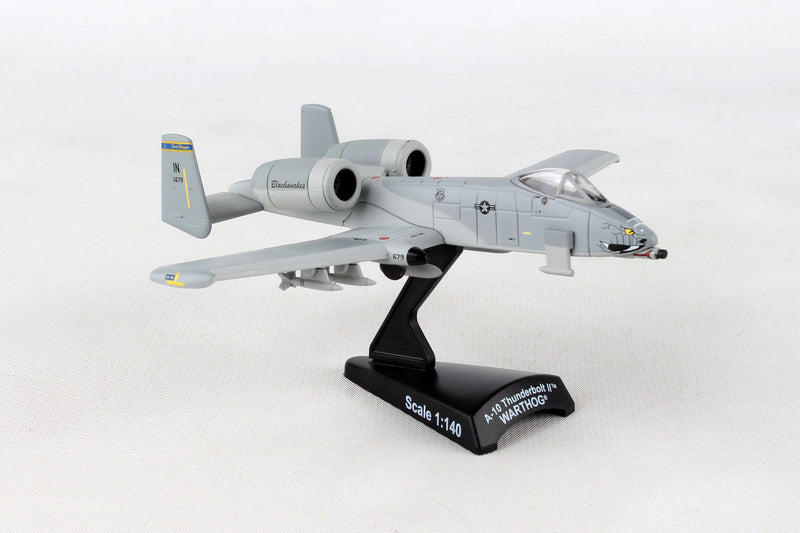 "Fairchild Republic A-10 Thunderbolt II (Warthog) 163rd FS ""Blacksnakes"" 1:140 Scale Diecast Model Right Front View"