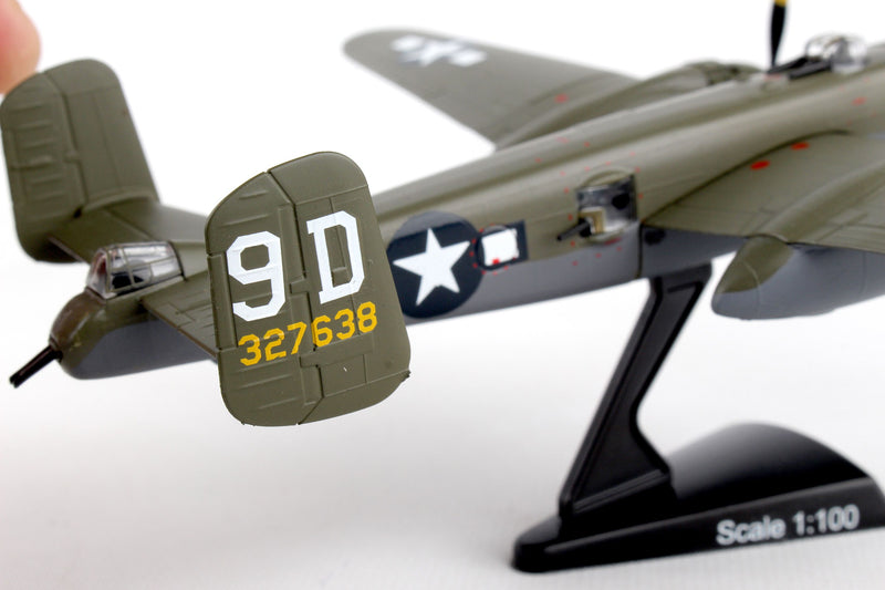"North American B-25J Mitchell ""Briefing Time"" 1:100 Scale Diecast Model Tail Detail"