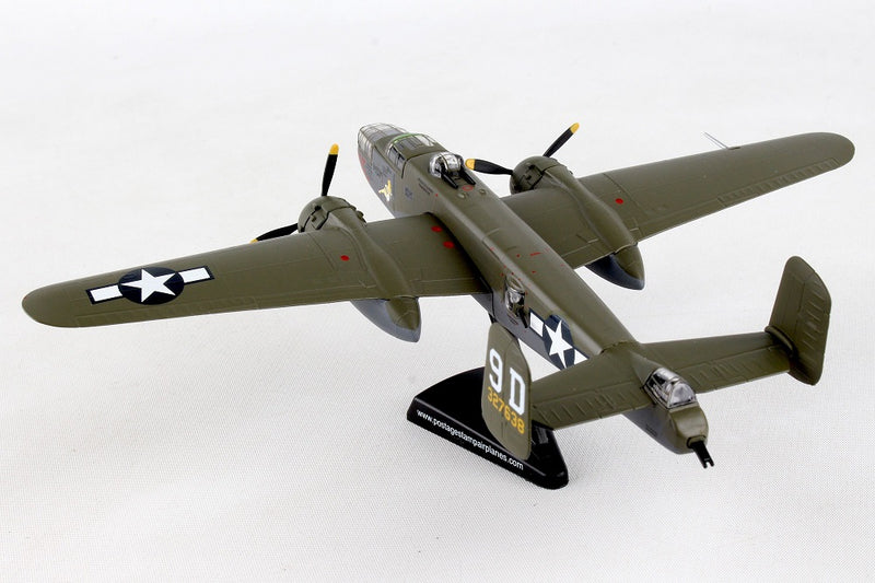 "North American B-25J Mitchell ""Briefing Time"" 1:100 Scale Diecast Model Left Rear View"