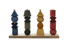 Rainbow Colored XL Wood Stacking Toy By Wooden Story