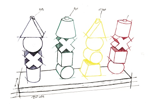 Rainbow Colored XL Wood Stacking Toy Drawing