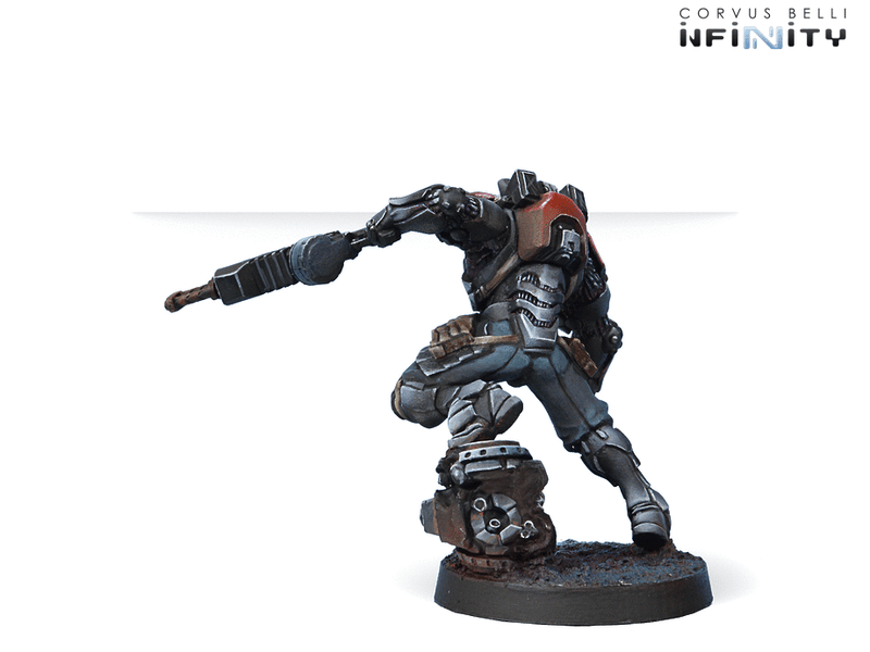 Infinity Combined Army Raktorak, Morat Sergeant Major (Vulkan Shotgun) Miniature Game Figure Rear View