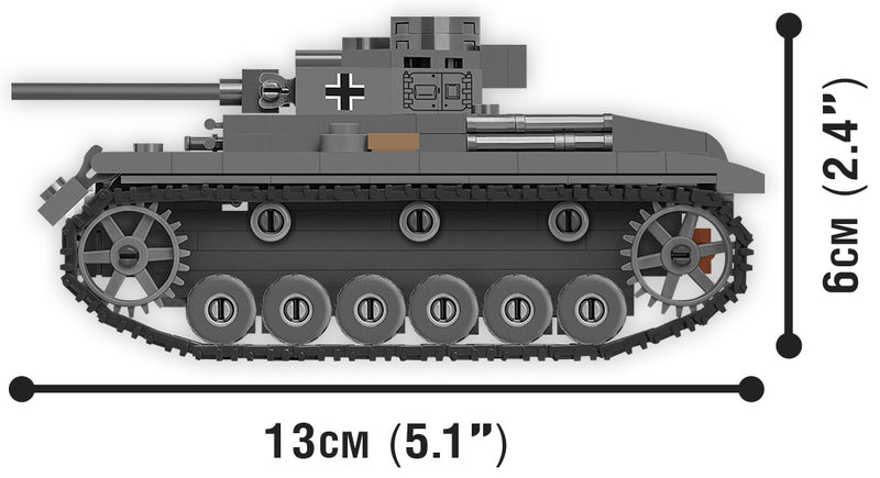 World Of Tanks Panzer III Ausf. J, 1:48 Scale 286 Piece Block Kit Side View Dimensions