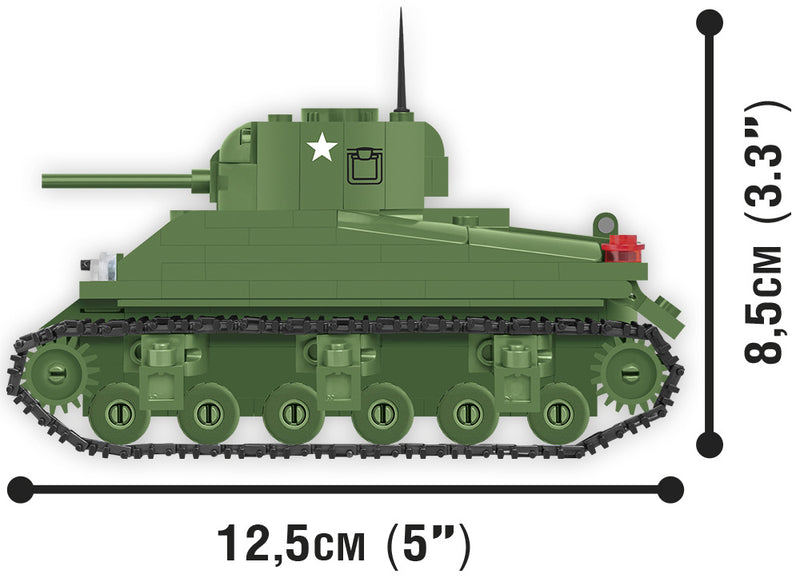 World Of Tanks M4 Sherman Tank, 1:48 scale 300 Piece Block Kit Side View Dimensions