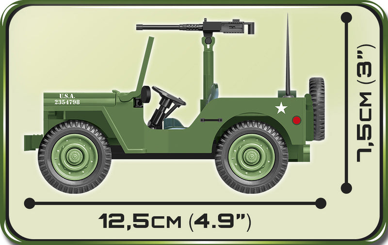 "Willys MB ¼ Ton 4 x 4 ""Jeep"", 91Piece Block Kit Side View Dimensions"