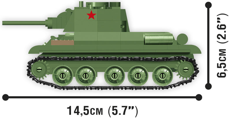 World Of Tanks T-34/76 Tank, 1:48 Scale 268 Piece Block Kit Side View Dimensions