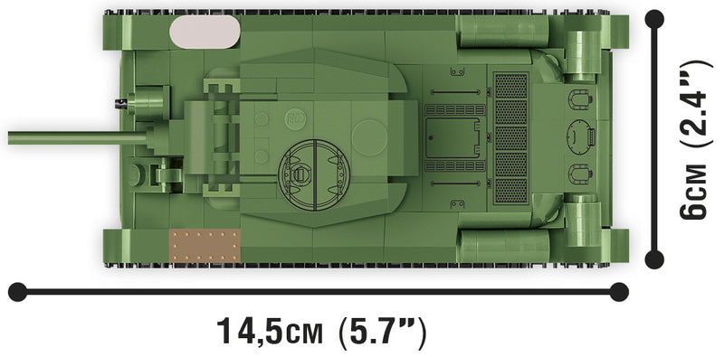 World Of Tanks T-34/76 Tank, 1:48 Scale 268 Piece Block Kit Top View Dimensions
