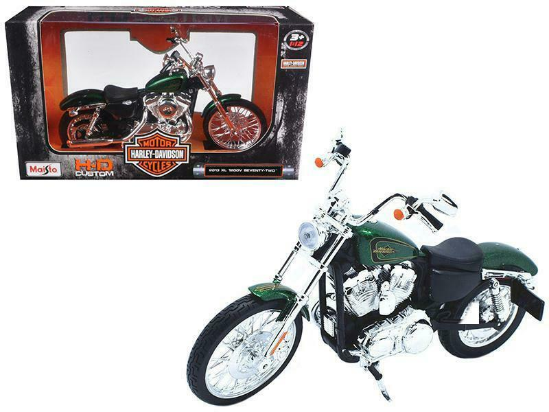 Harley Davidson 2013 XL 1200V Seventy Two (Green), 1:12 Scale Model Motorcycle By Maisto