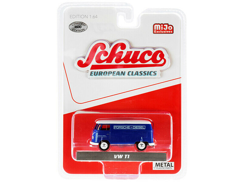 Volkswagen Type 2 T1 Panel Bus Porsche Diesel (Blue w/ White Top) 1:64 Scale By Schuco