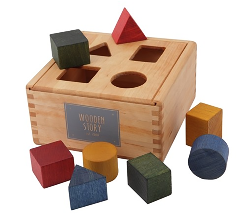 Rainbow Colored Shape Sorter Box By Wooden Story