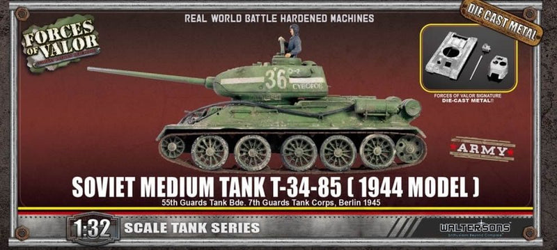 T-34-85 Medium Tank, Soviet 55th Guards Tank Brigade 1945, 1/32 Scale Model By Forces Of Valor Box