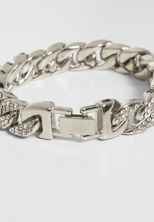 Big Bracelet With Stones - Silver
