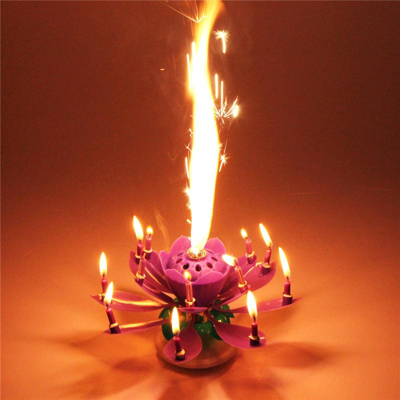 Sweetest Rotating Opening Musical Flower Candle Hover To Zoom