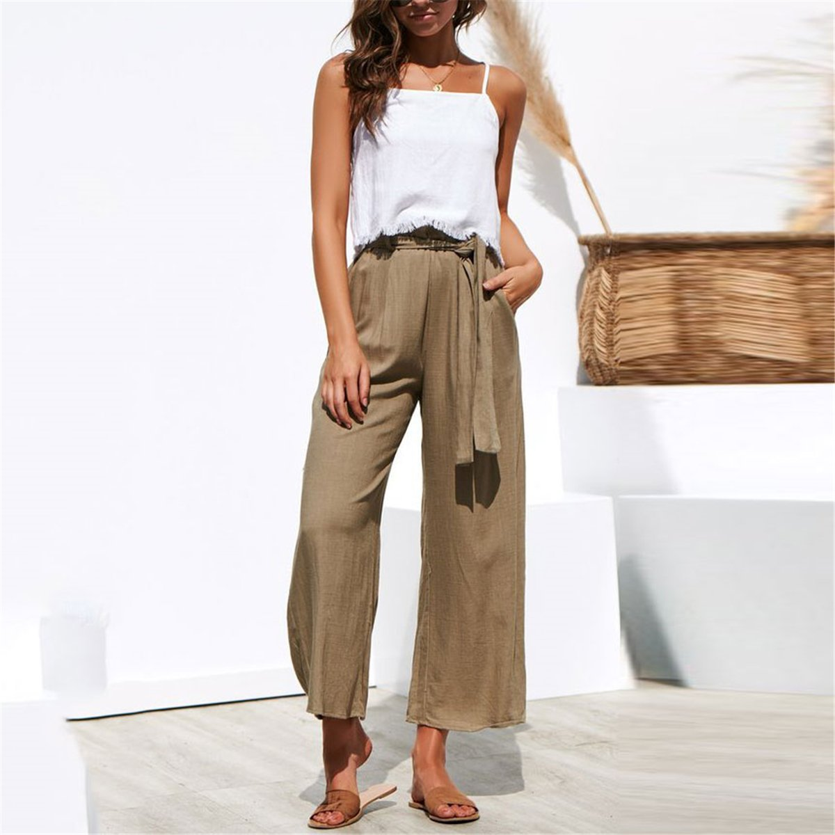 26dc0e9432 Load image into Gallery viewer, Fashion High Waist Plain Belted Wide Leg  Pants ...