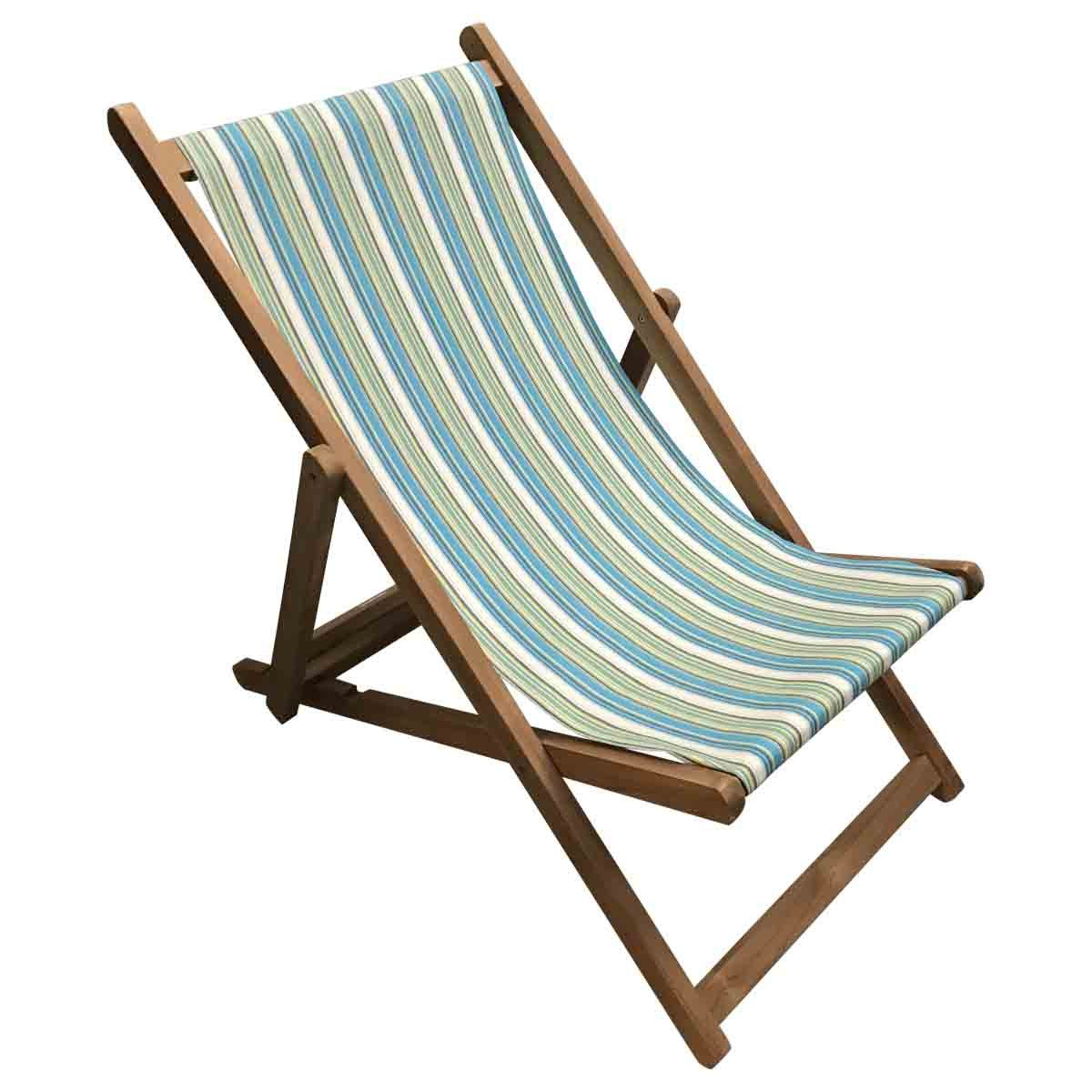 Aquatics Premium Teak Hardwood Striped Deckchair - Deckchair Stripes