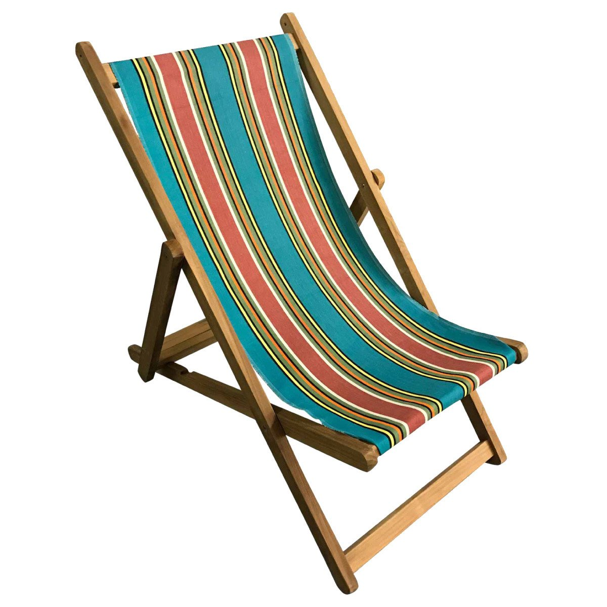 Bagatelle Premium Teak Hardwood Striped Deckchair - Deckchair Stripes
