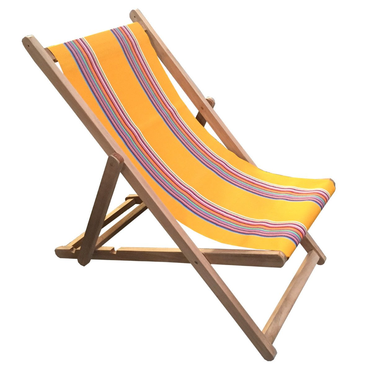 Butterfly Premium Teak Hardwood Striped Deckchair - Deckchair Stripes