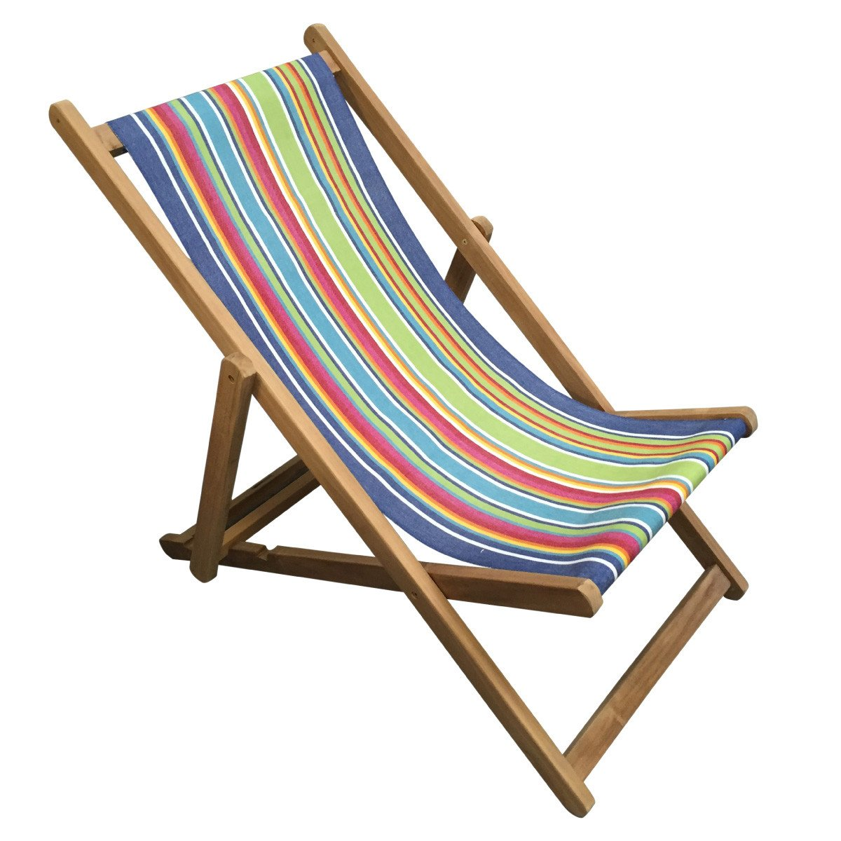 Climbing Premium Teak Hardwood Striped Deckchair - Deckchair Stripes
