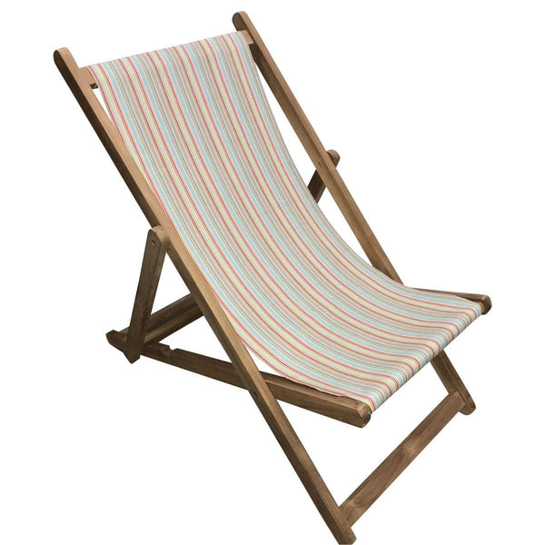 Cricket Premium Teak Hardwood Striped Deckchair - Deckchair Stripes