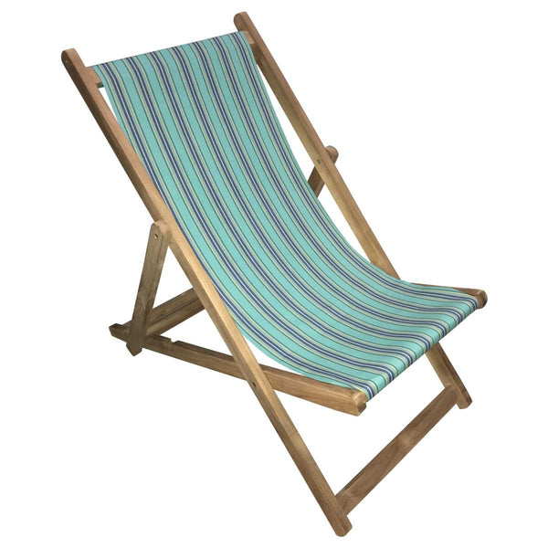 Fencing Premium Teak Hardwood Striped Deckchair - Deckchair Stripes