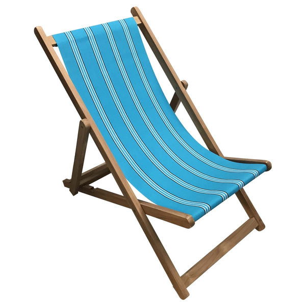 Fives Premium Teak Hardwood Striped Deckchair - Deckchair Stripes