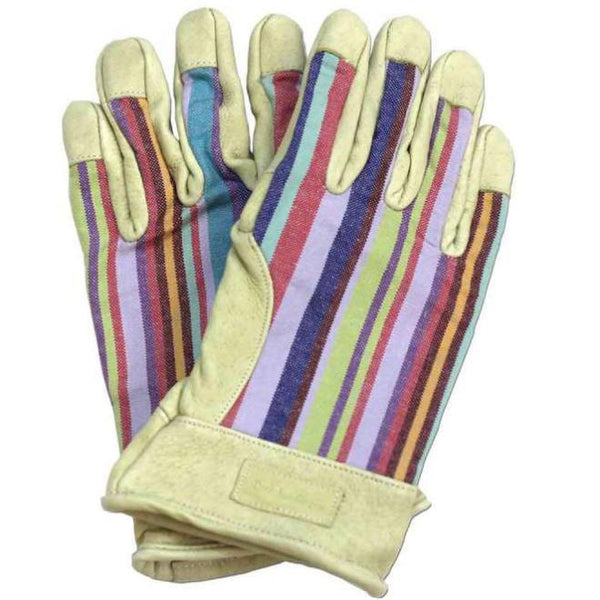 Ladies Striped Leather Gardening Gloves