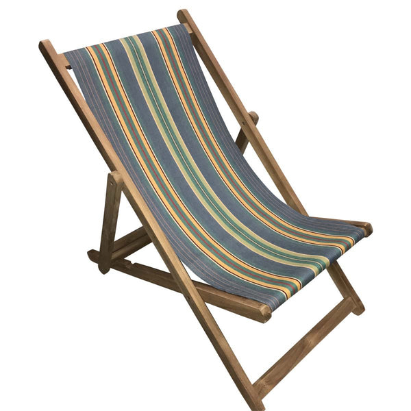 Hula Hoop Teak Striped Deckchair