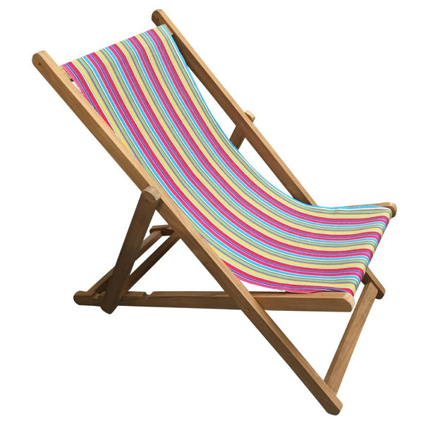 Karting Pink Teak Striped Deckchair