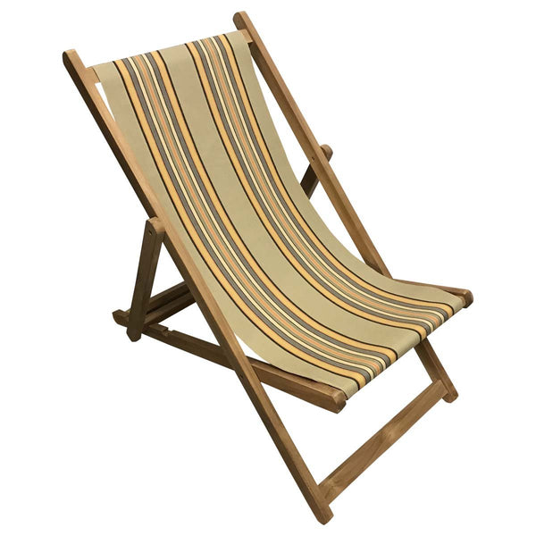 Kickball Teak Striped Deckchair
