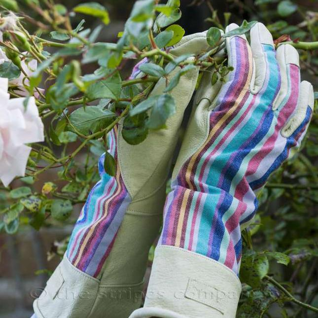 Ladies Striped Gauntlet Gardening Gloves