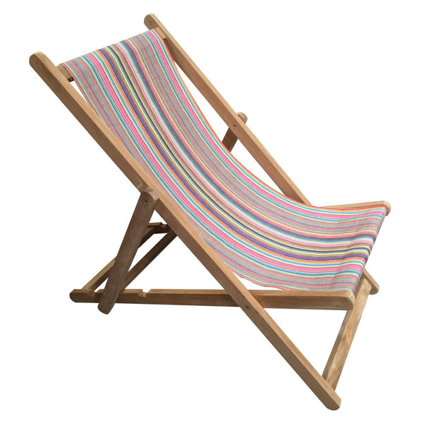 Mahjong Teak Striped Deckchair