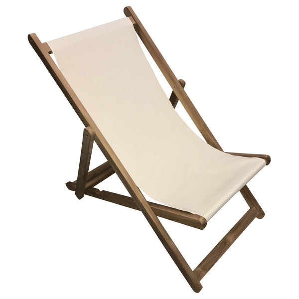 Natural Teak Striped Deckchair