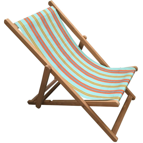 Petanque Premium Teak Hardwood Striped Deckchair