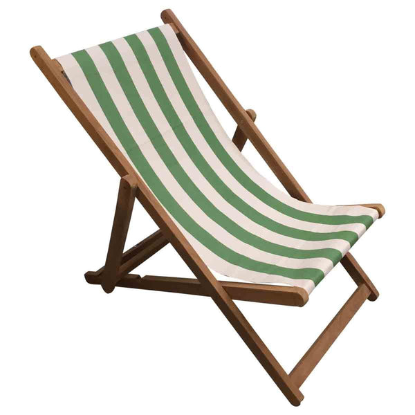 Pole Vault Teak Striped Deckchair