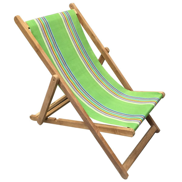 Punting Teak Striped Deckchair