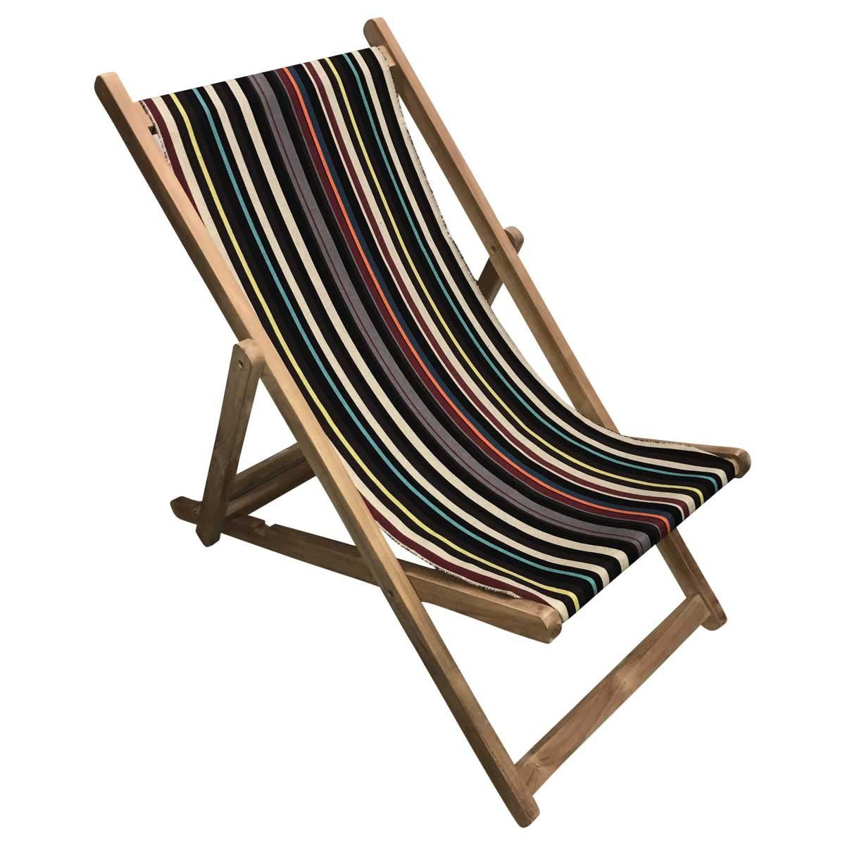 Shooting Teak Striped Deckchair