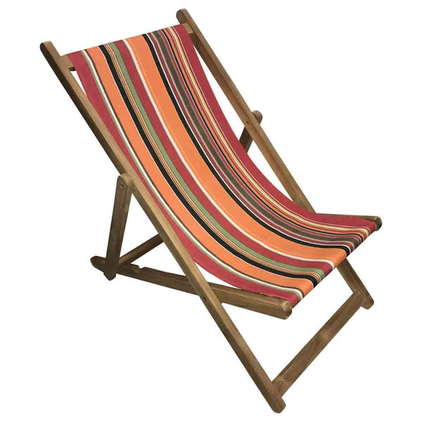 Skipping Teak Striped Deckchair