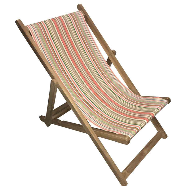 Slamball Teak Striped Deckchair
