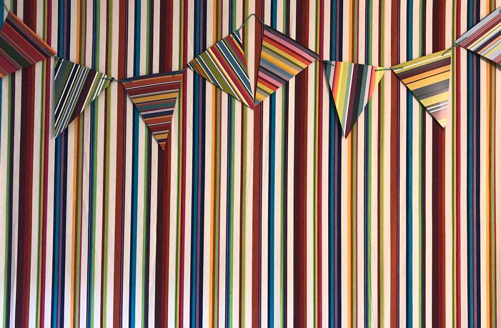 striped paper bunting