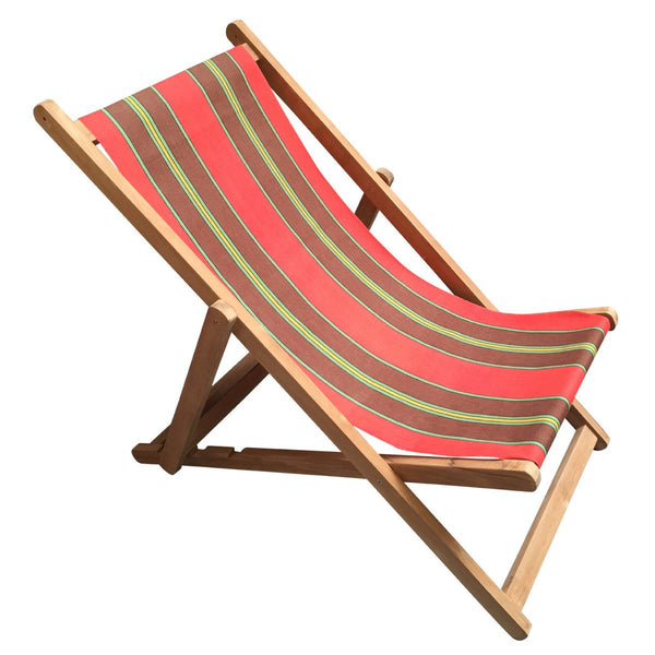 Triathlon Teak Striped Deckchair