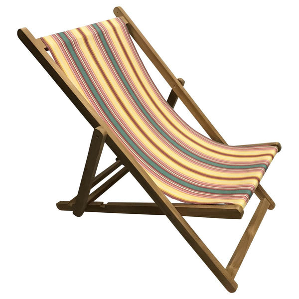 Waltzing Teak Striped Deckchair
