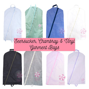 Lilac Seersucker Garment Bag
