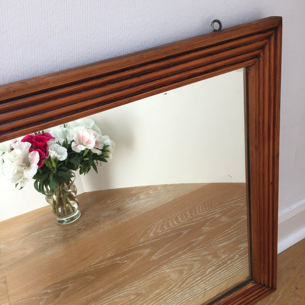 Grand miroir rectangulaire en pitchpin