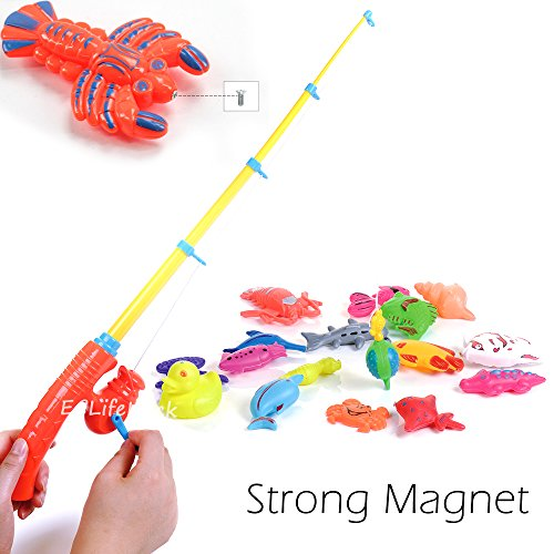 Magnetic Fishing Toys Game Set for Kids /& Toddlers for Bathtime Plastic Floating Fish all Ocean Sea Animals Pool Party with Pole Rod Net