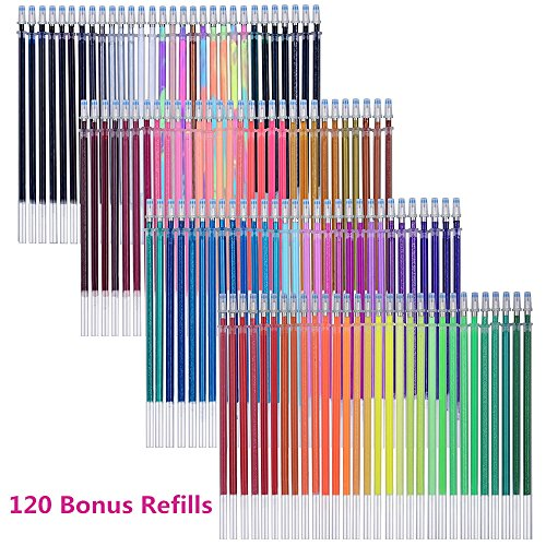 Tanmit 240 Gel Pens Set 120 Colored Gel Pen Plus 120 Refills For Adults Coloring