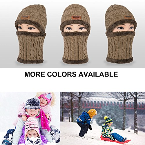 bb713729f40 VBIGER Kids Winter Hat and Scarf Set 2-Pieces Warm Knit Beanie Cap and Scarf