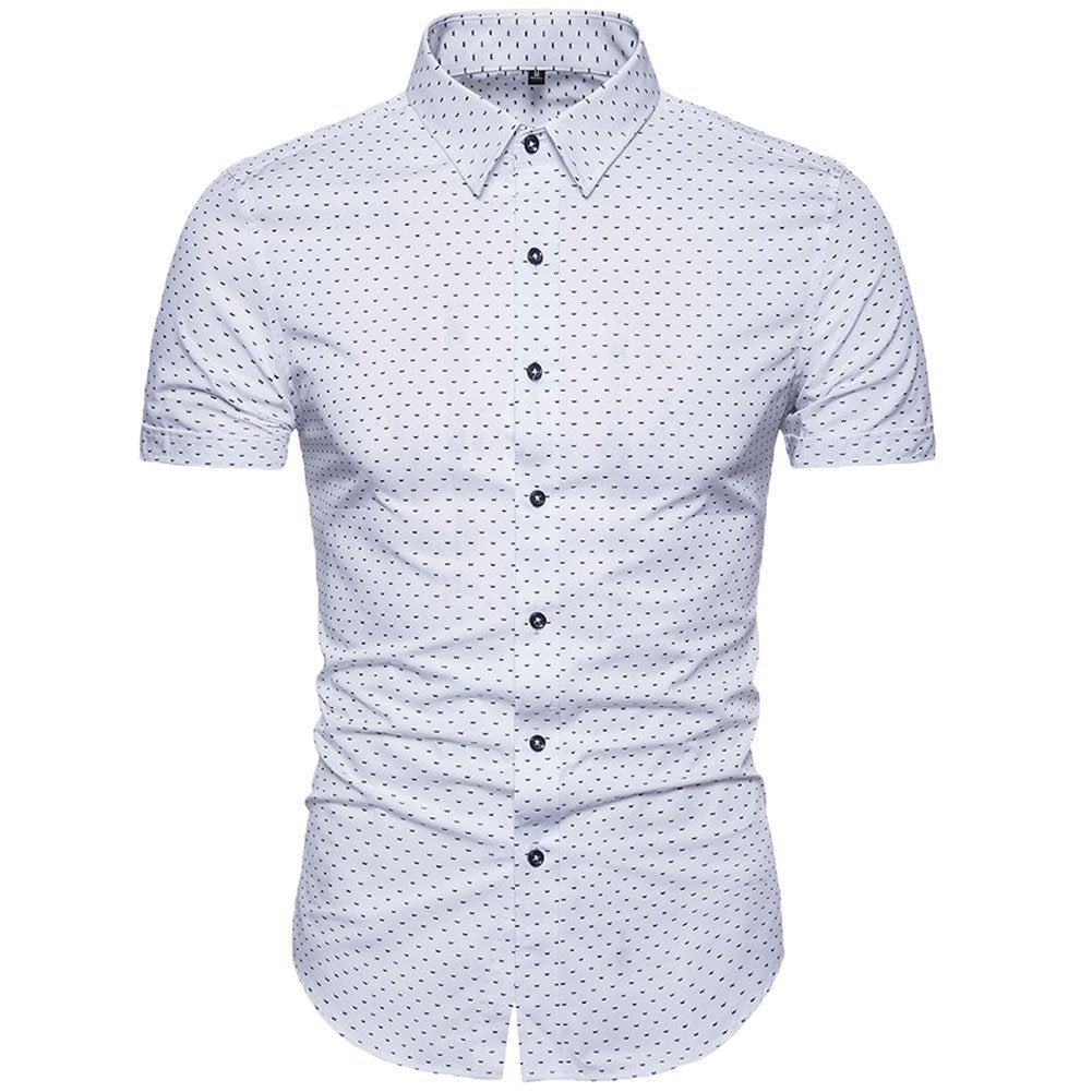 Muse Fath Mens Printed Dress Shirt 100 Cotton Casual Short Sleeve