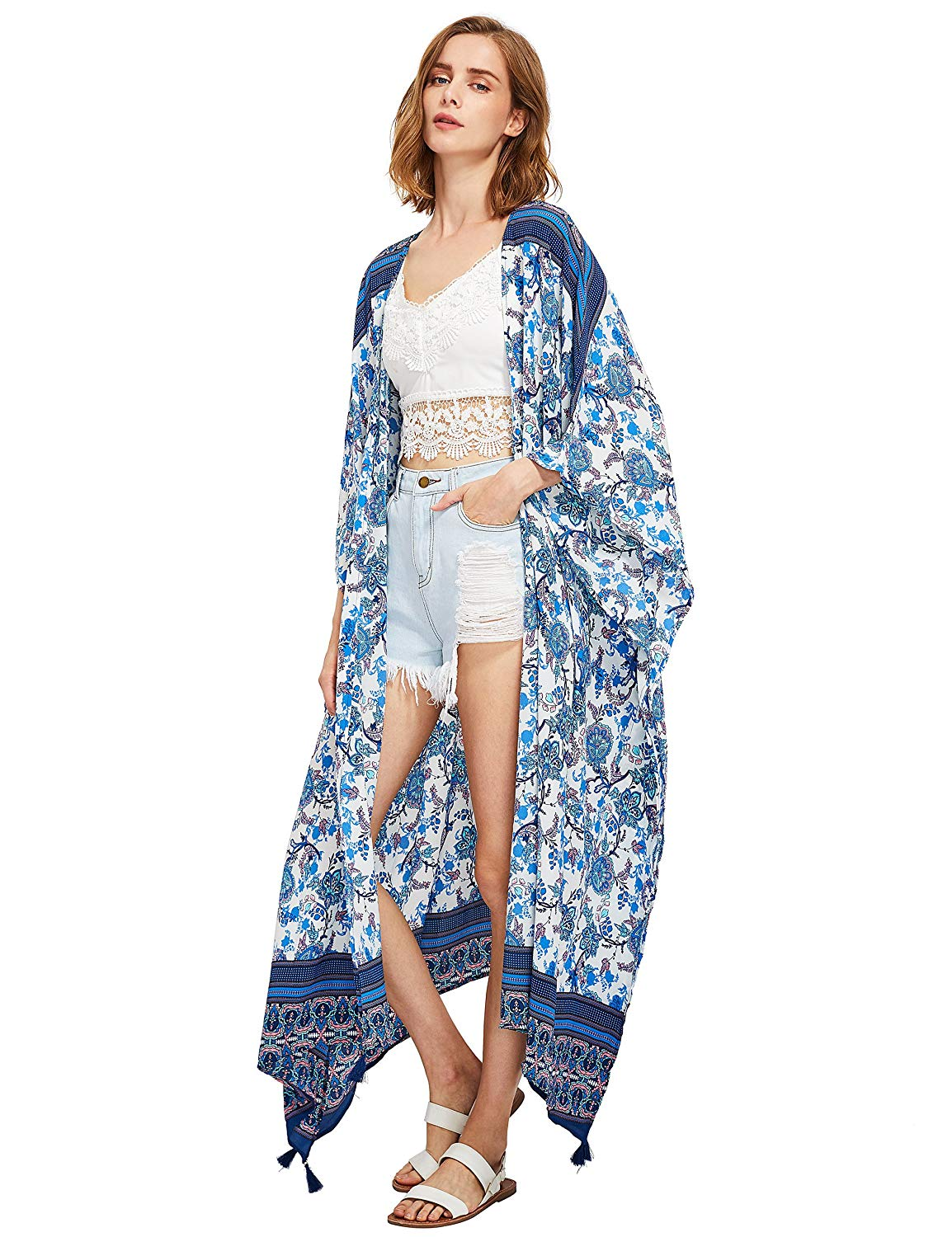 acf434cf190 SweatyRocks Women s Flowy Kimono Cardigan Open Front Maxi Dress ...