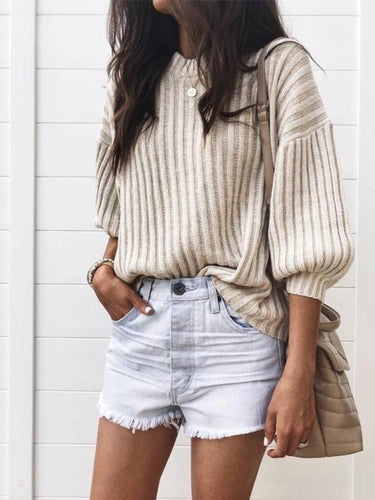 Autumn And Winter Fashion Pure Color Pit Strip Knitted Top Sweater