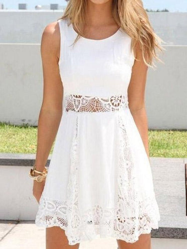 Lace Round Neck Patchwork Sleeveless Skater Dress